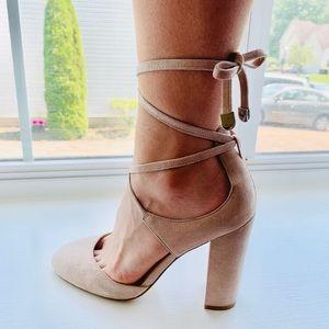 Nude Laceup Heels!